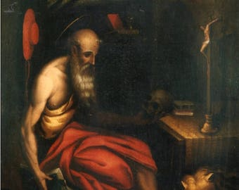 St. Jerome at prayer in the cave at night