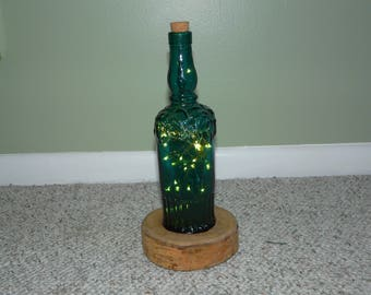 Upcycled Wine Bottle LED Lamp with Rustic Wood Base