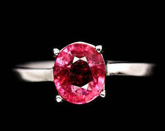 Bright gold plated S925 silver ring Pink Tourmaline