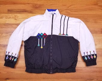 Vintage 80s Prince WIndbreaker Pattern Vaporwave memphis  90s design Jacket Coat Medium M