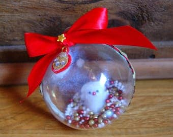 Large red and gold Christmas ornament