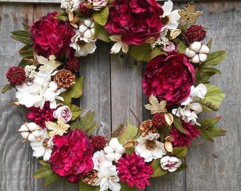 Peony Wreath/Cottonstem Wreath/Country Chic Decor/Burgundy and Cream/Front Door Wreath/Living Space Decor/Mantle Decor/Rustic Decor