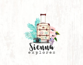 Travel & Fashion Blogger Suitcase Exotic Flowers Premade Logo Design in pastel watercolor style