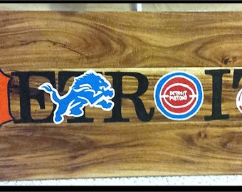 Made-to-order hand painted Detroit Sports Wooden Sign