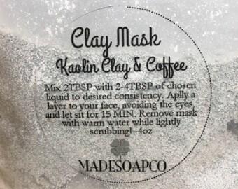 Kaolin clay & coffee facial mask