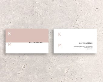 two tone minimal logo double sided business card template