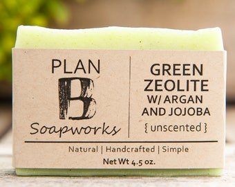 Green Zeolite Clay + Jojoba & Argan Oil | All Natural Bar Soap | Handmade Soap | Unscented Soap | Cold Process | Vegan | Homemade Soap