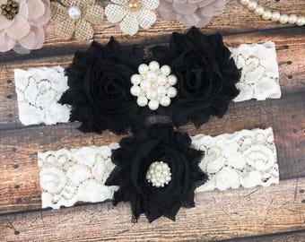 Black Wedding Garter Belt Bridal Set