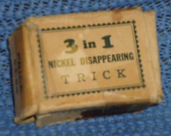 Vintage Magic Trick, Vintage Disappearing Nickel Trick