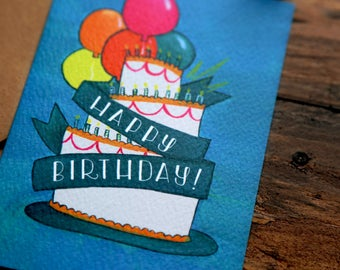 Blank Inside Birthday Card with Cake