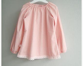 Tunic, blouse, pink / white, Star