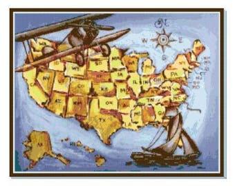 Americana Map Cross Stitch Chart