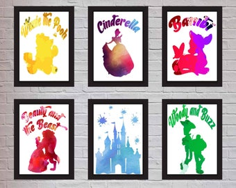 1x Water colour Disney inspired Prints