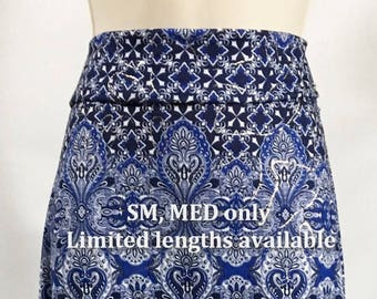 Cute and comfortable blue, white & silver boho print woman's A-line skirt with foldover waistband