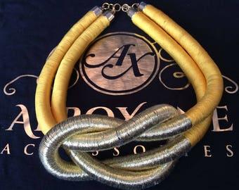 African statement handmade knot-twist necklace