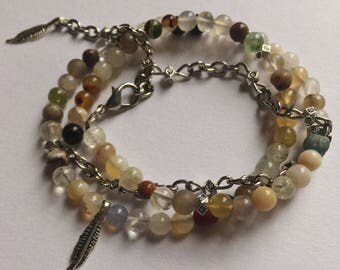 Agate Beaded Wrap Bracelet