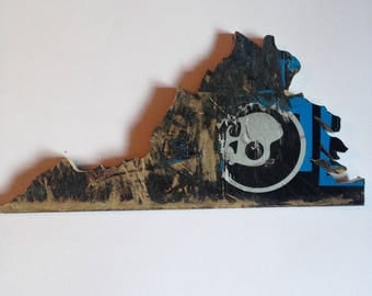 State of Virginia Outline made from Recycled Skateboards