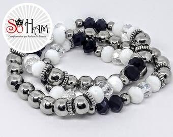 White Crystal elastic bracelet, black, birthday gift for woman.