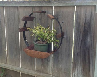 Hanging Barrel Staves and Ring Planter