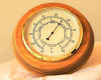 Thermometer, mounted on Chestnut wood round
