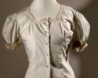 vintage edwardian blouse, crocheted lace, mother of pearl buttons, 1910, antique shirt, puff sleeves