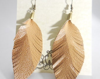 Gold and Tan Leather Leaf Earrings