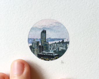 Watercolor & Gouache Miniature Painting  - New York City (Midtown Manhattan)