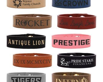 Personalized Engraved Leather Youth Cuff Bracelet, Kid's Cuff Bracelet, Youth Bangle Cuff Bracelet