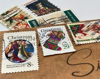 23 used vintage Christmas Holiday vintage postage stamps | Perfect for scrapbooking, stamp collecting, snail mail art, and crafting