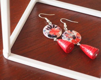 Handmade Red Paper Earrings