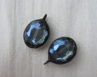 Hand Soldered Reflective Blue Crystal Oval