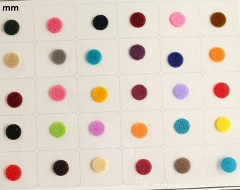 Velvet Round Colored Bindi Stickers,Wedding Round Bindi,Plain Colorful Bindis,Indian Multicolor Face  Bindis,Bollywood Bindis,Self Adhesive