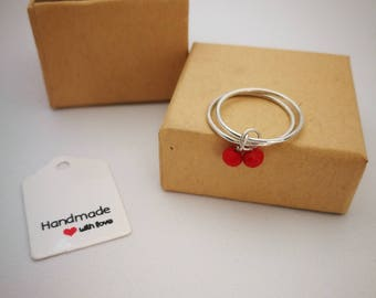 Double ring Ruby silver charms