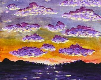 Textured Glowing Sunset - ORIGINAL PAINTING