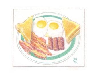 Breakfast Bacon & Eggs Color Pencil Illustration