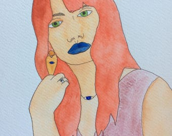 Redhaird Girl Rocking Blue Lipstick Watercolor Painting