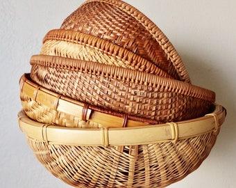 Large Vintage Basket, Fruit Woven Baskets, Beige, Brown, Tan