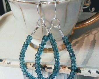 Teal Blue Apatite Beaded Rondelle Sterling Silver Earrings