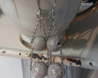 Shimmer Silver Ball Adjustable Dangle Earrings