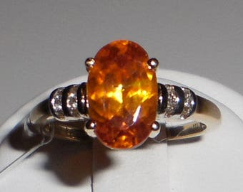 Firey Sphalerite & Diamond 14k Yellow Gold Ring