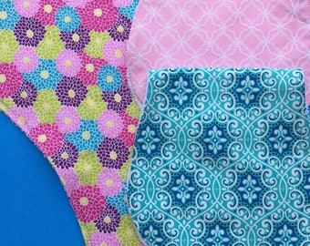 Pink and Blue Burp Cloths Set of 3