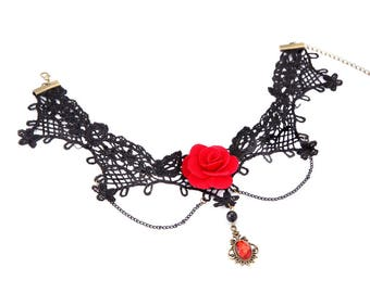 Black Necklace With Red Flower