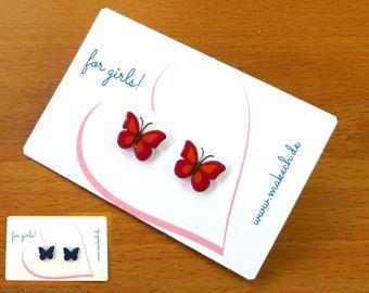 Girl children jewelry ear studs earrings Butterfly Silver 925