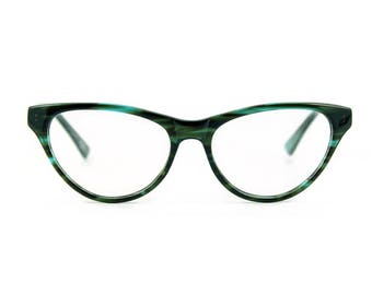 Stunning contemporary, sophistiCATed cat eye glasses.Hand made, flexible, lightweight and sexily serious 'AUDREY' Teal Sea