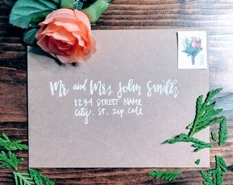 Hand Lettered, Envelope Addressing, Wedding Invitations, Calligraphy Envelope