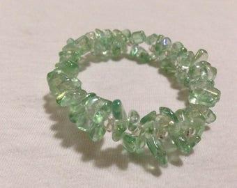 Teal Glass Bead Double Braid Stretch Bracelet - Standard Size