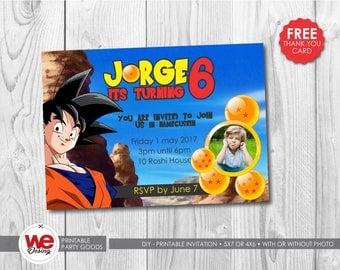 Goku invitation,Goku  party, dragon ball Z invite, Goku thank you card, Goku  birthday, dragon ball