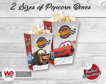 Cars Popcorn Box, Printable Cars Popcorn Boxes,Cars Birthday decoration, instant download,Cars Label