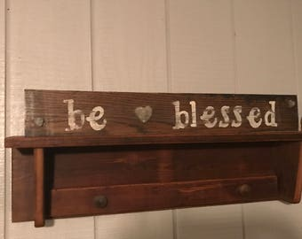 "Distressed ""be blessed"" stenciled wood sign"