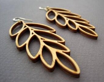 Laser Cut Wood Leaf Earrings / Boho Earrings / Modern Jewelry
